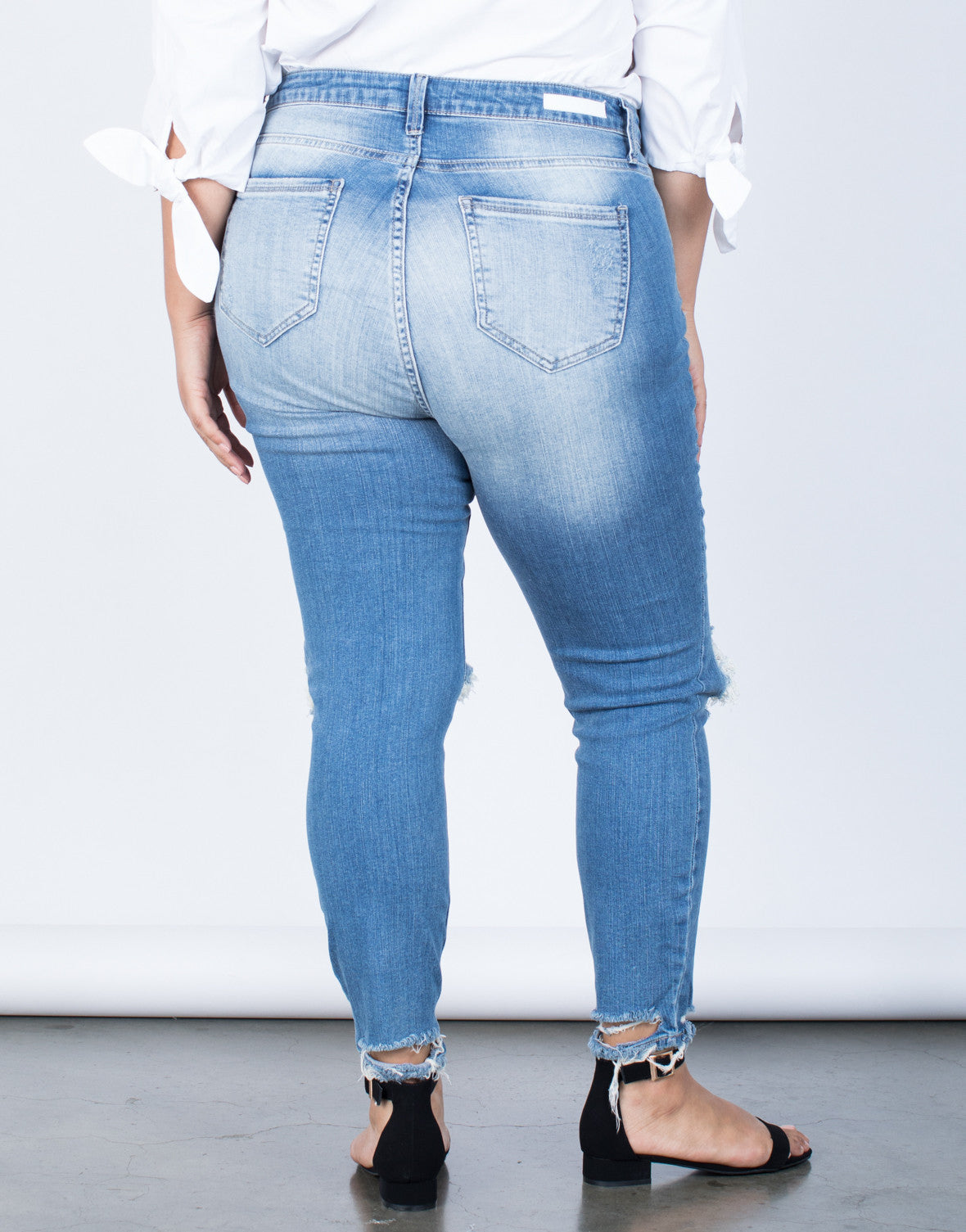 Blue Denim Plus Size Ripped Hem Jeans - Back View