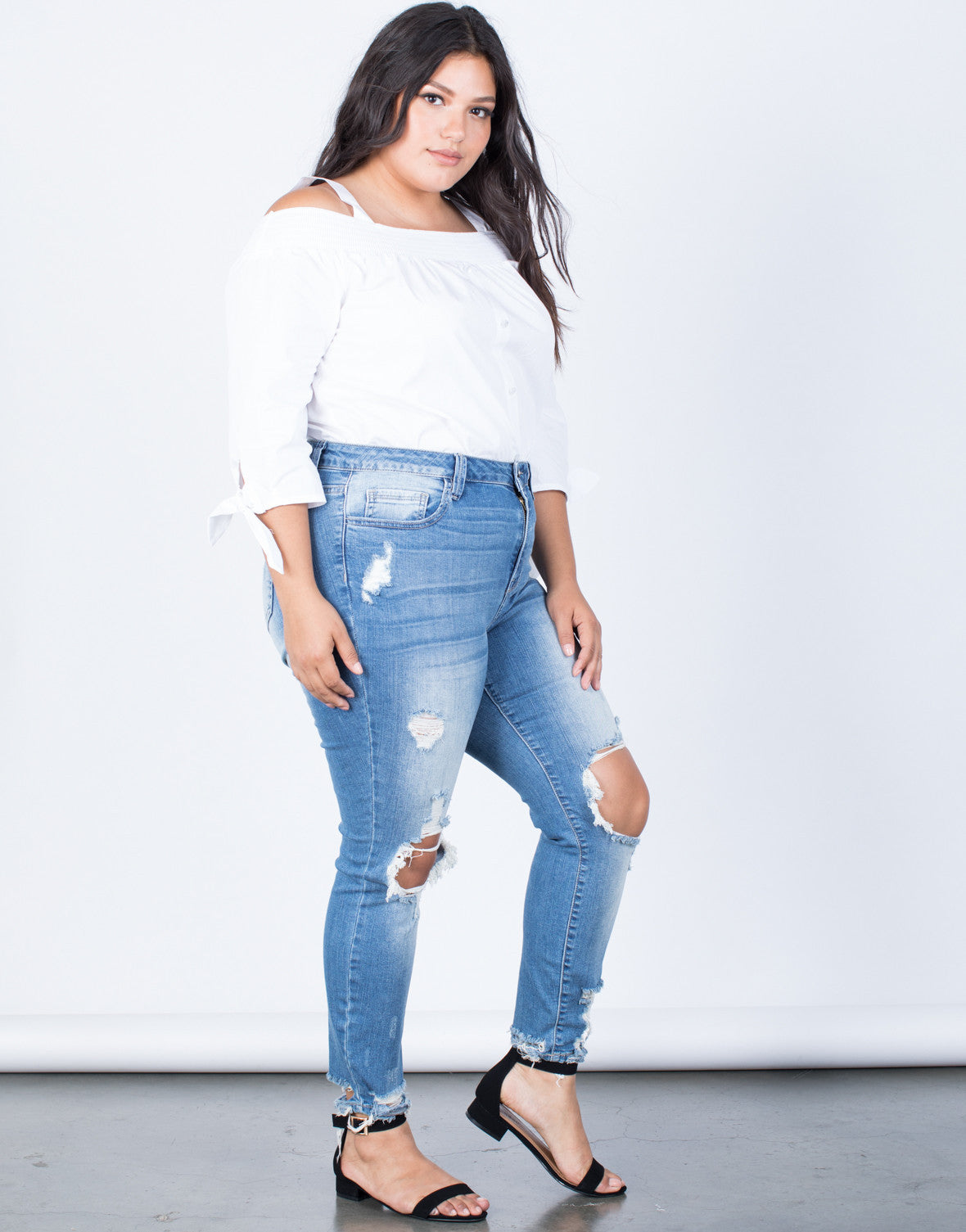 Blue Denim Plus Size Ripped Hem Jeans - Side View