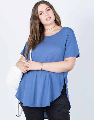 Plus Size Slit Apart Tee - 2020AVE