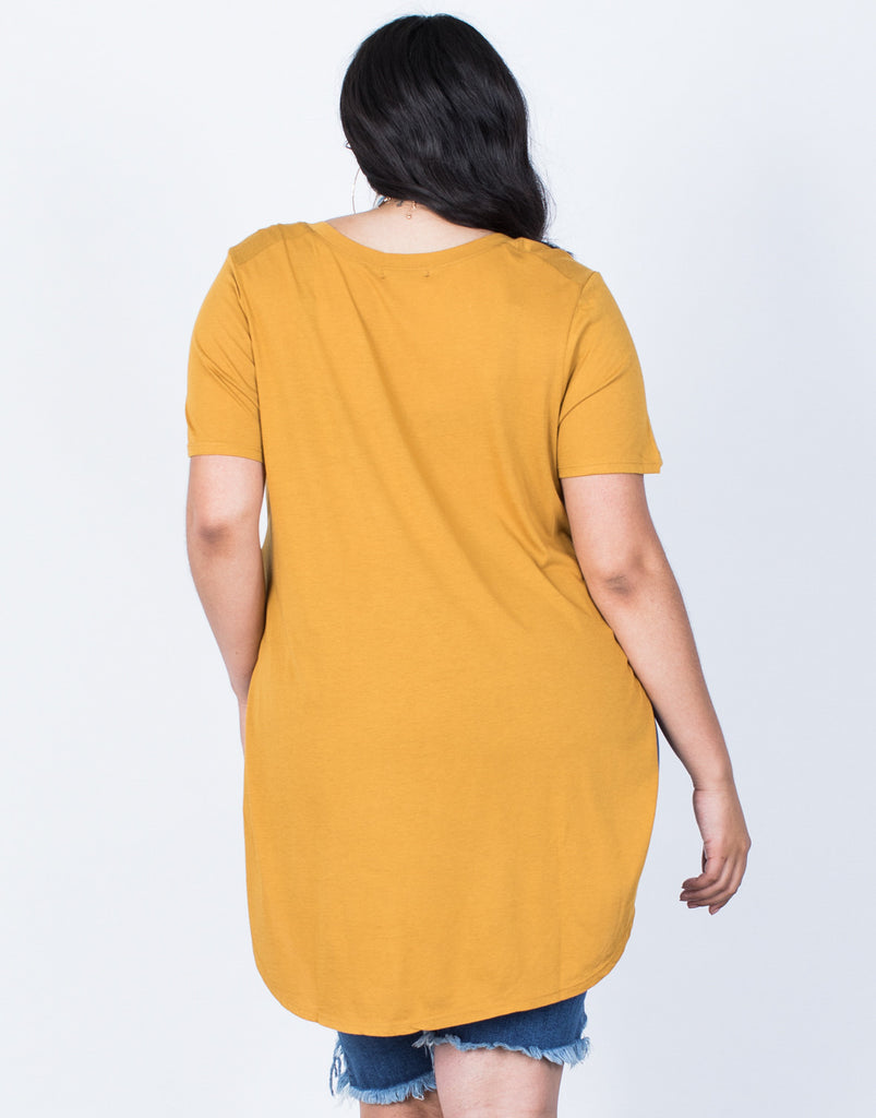 Back View of Plus Size Slit Apart Tee