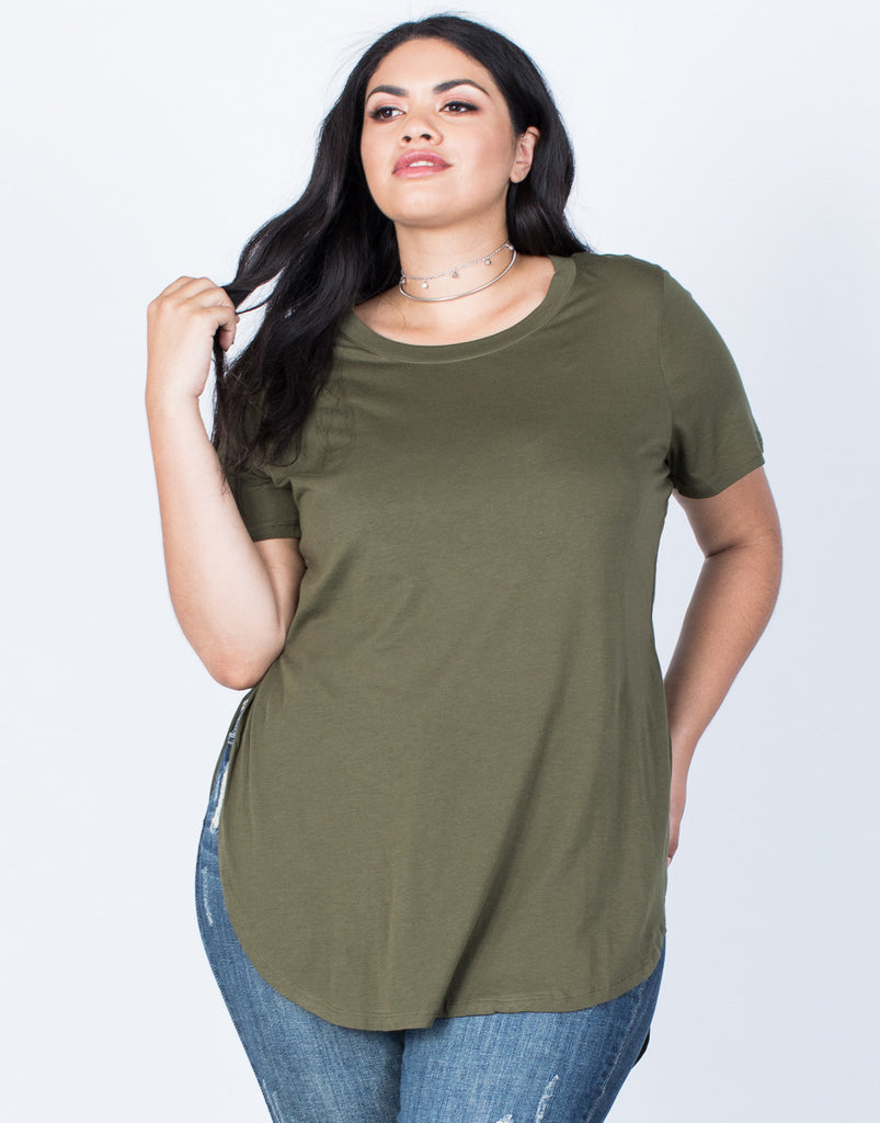 Front View of Plus Size Slit Apart Tee