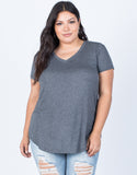 Dark Gray Plus Size So Relaxed Tee - Front View