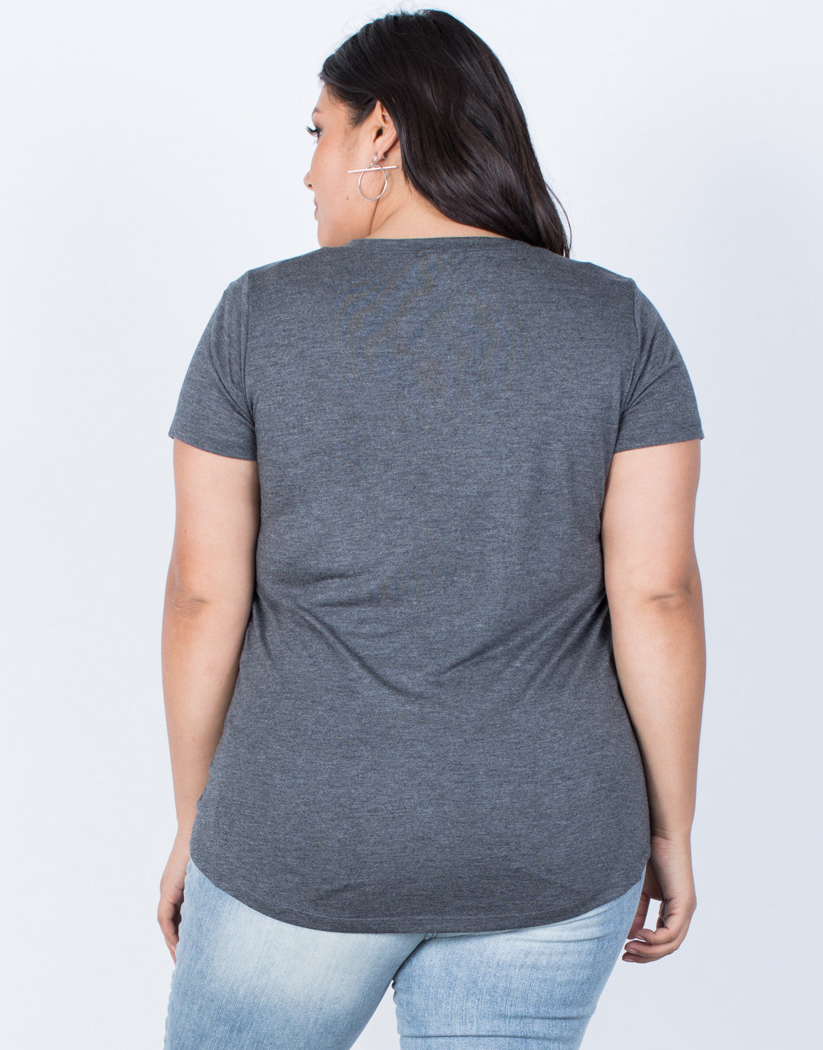 Dark Gray Plus Size So Relaxed Tee - Back View
