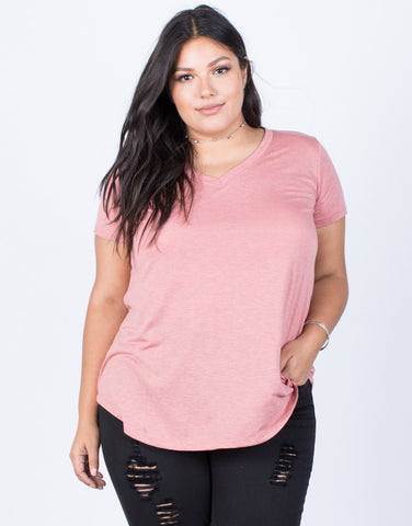 Marsala Plus Size So Relaxed Tee - Front View