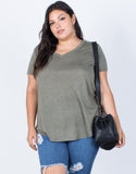 Olive Plus Size So Relaxed Tee - Front View