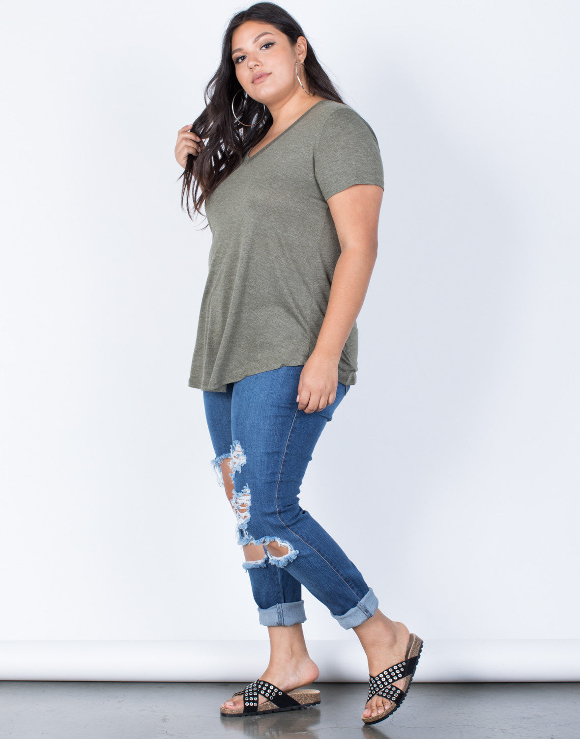 Olive Plus Size So Relaxed Tee - Side View