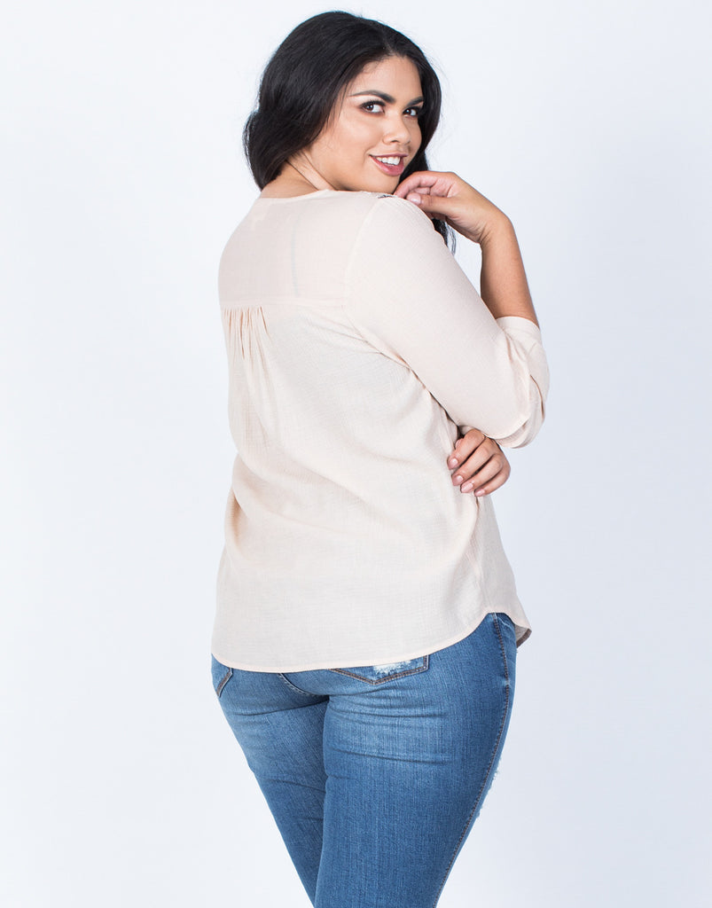 Back View of Plus Size Sophie Embroidered Blouse