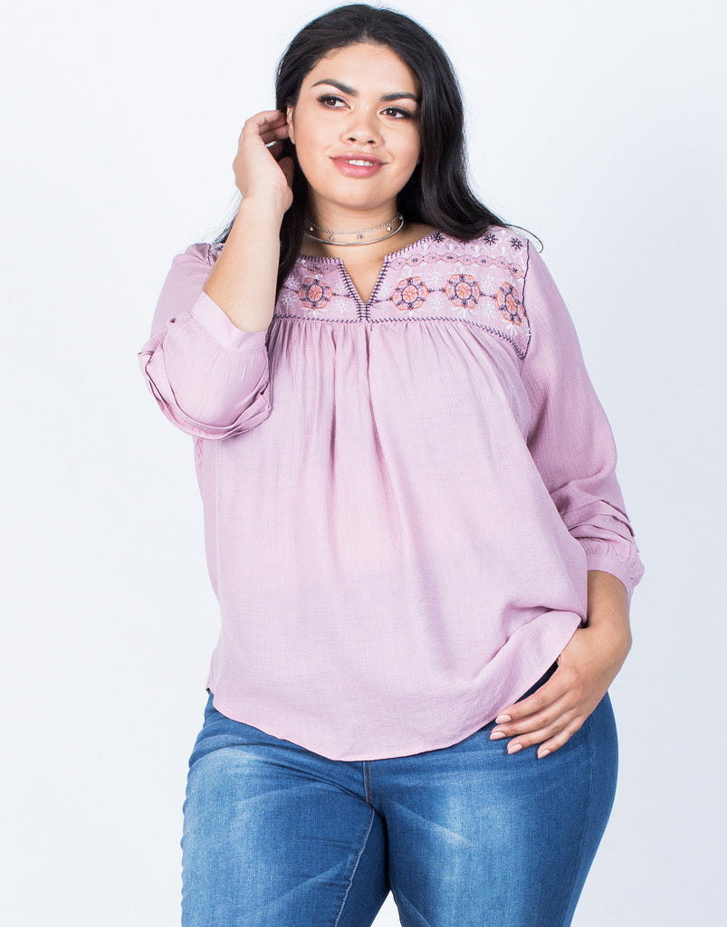 Front View of Plus Size Sophie Embroidered Blouse
