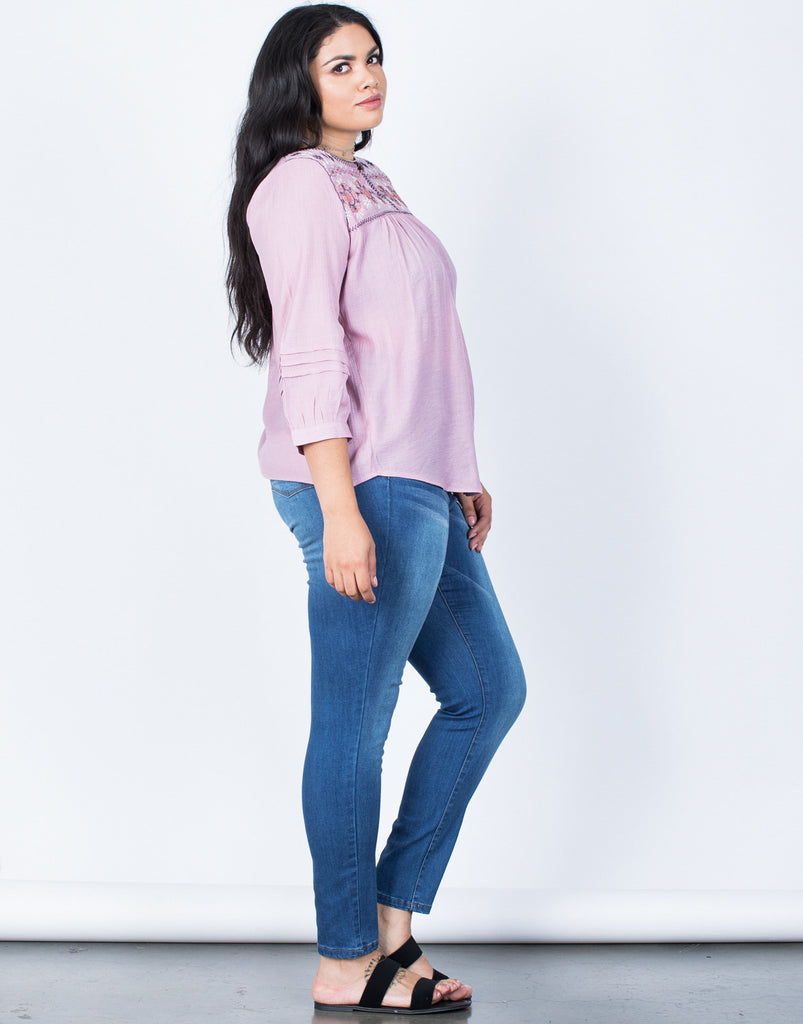 Side View of Plus Size Sophie Embroidered Blouse