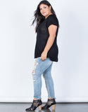 Black Plus Size Solo Pocket Tee - Side View