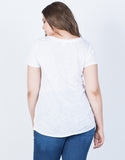 White Plus Size Solo Pocket Tee - Back
