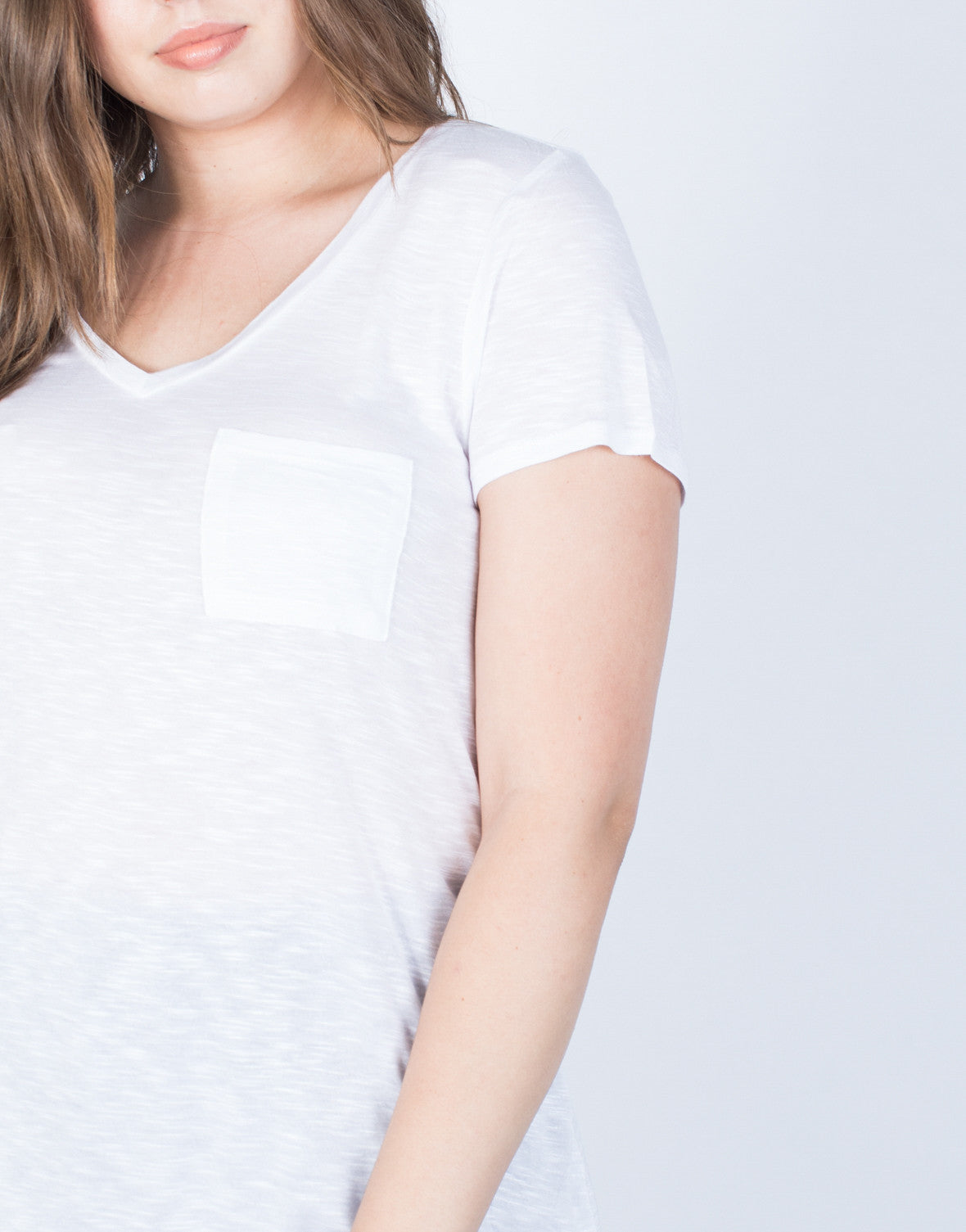 White Plus Size Solo Pocket Tee - Detail