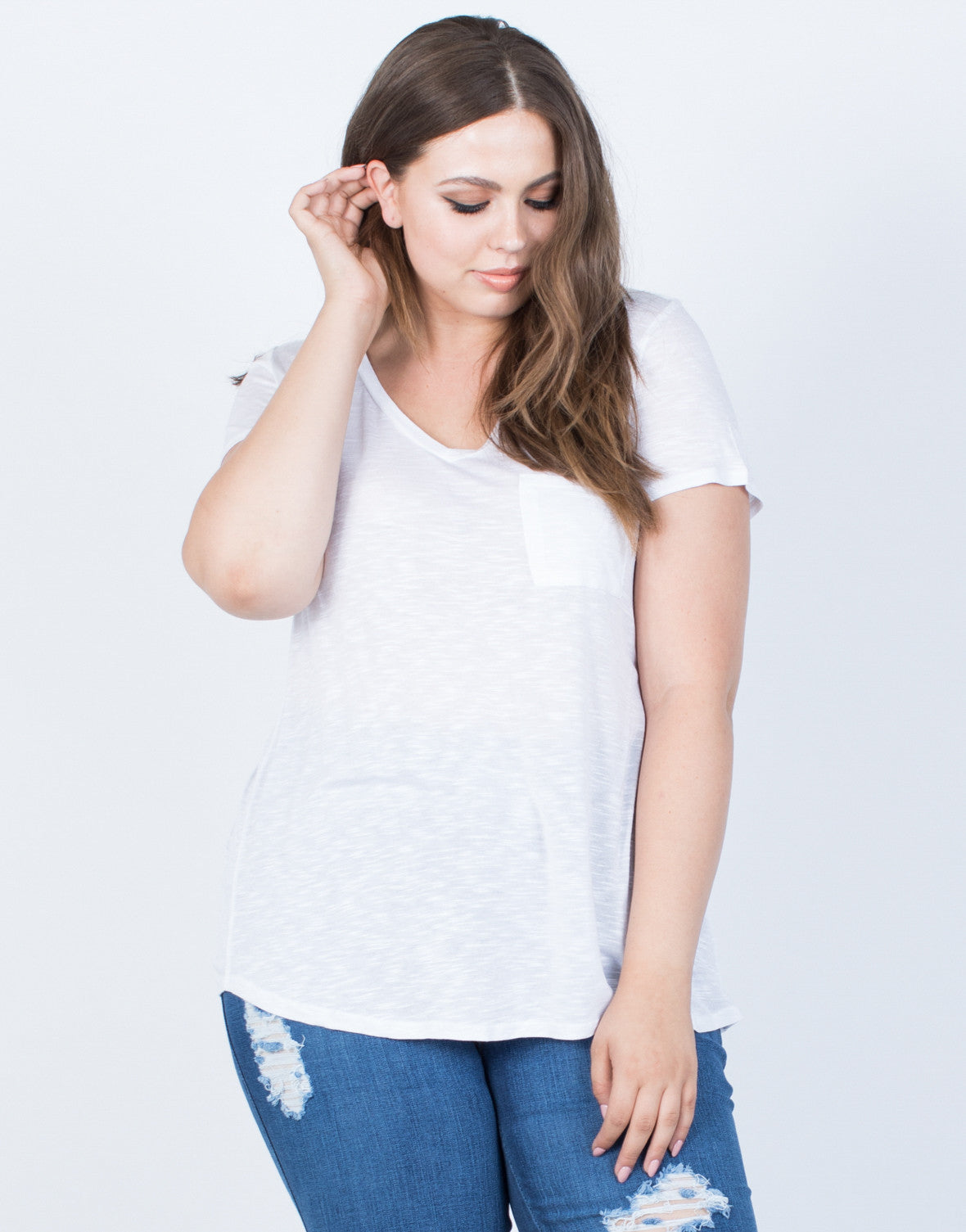 White Plus Size Solo Pocket Tee - Front View