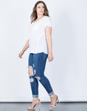 White Plus Size Solo Pocket Tee - Side View