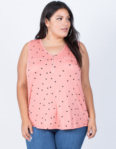 Salmon Plus Size Star Bright Top - Front View