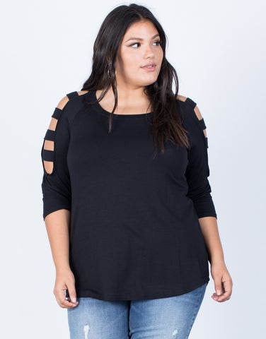 Black Plus Size Strappy Cut Out Top - Front View