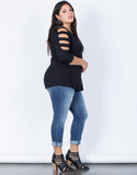 Black Plus Size Strappy Cut Out Top - Side View