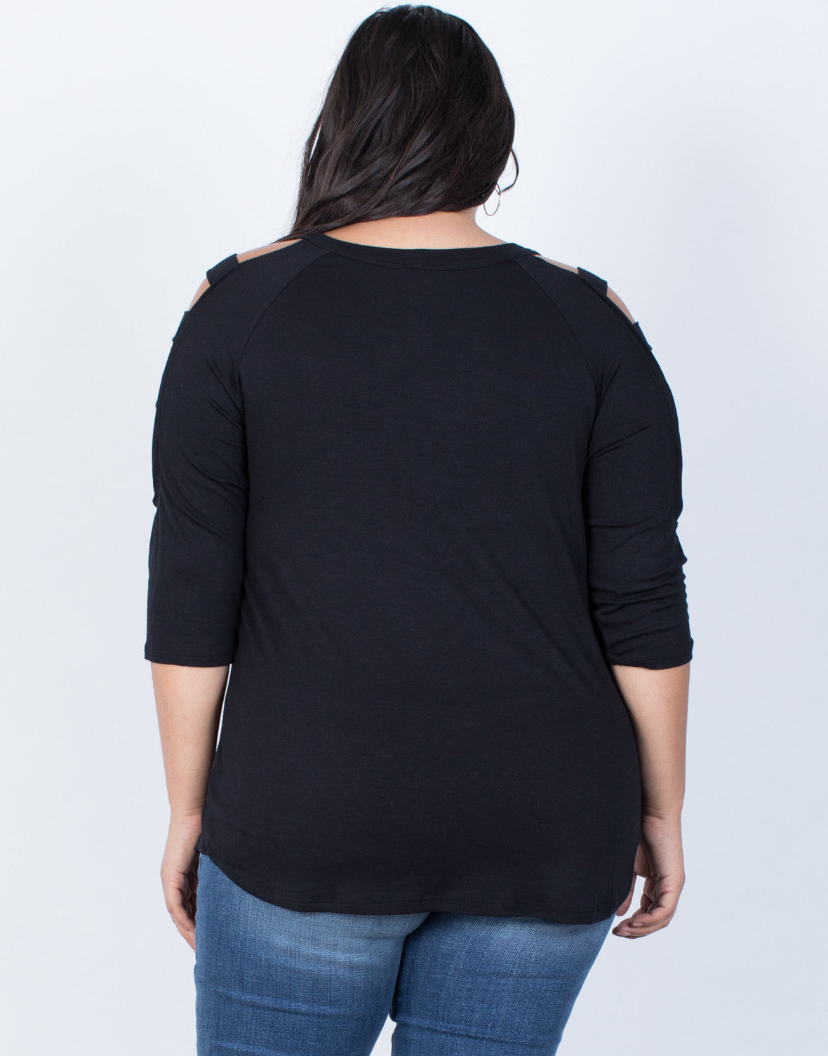 Black Plus Size Strappy Cut Out Top - Back View