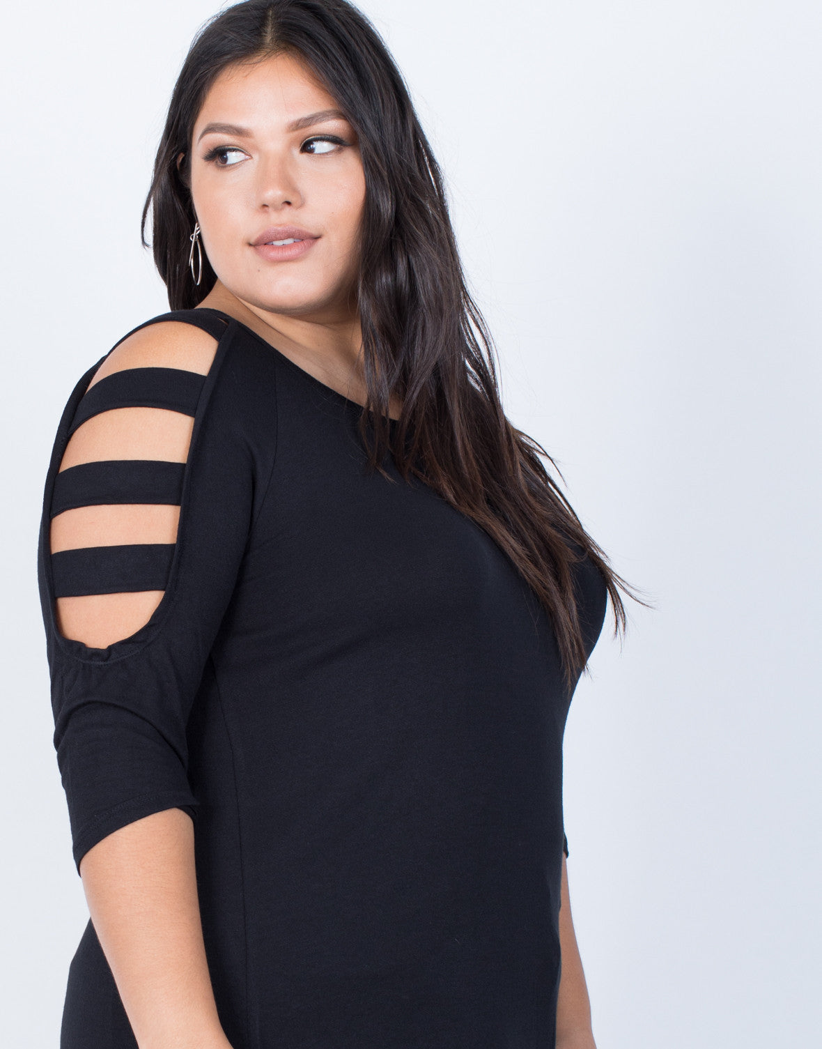 Black Plus Size Strappy Cut Out Top - Detail