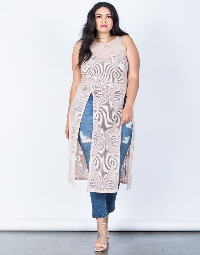 Front View of Plus Size Summer Vacay Maxi Top