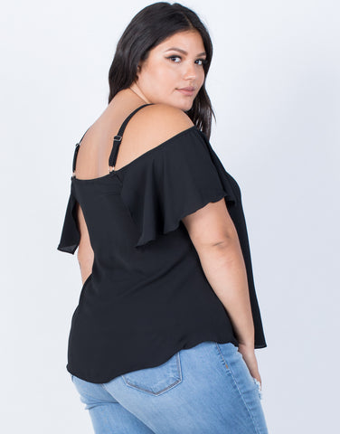 Black Plus Size Tassel Tied Top - Back View