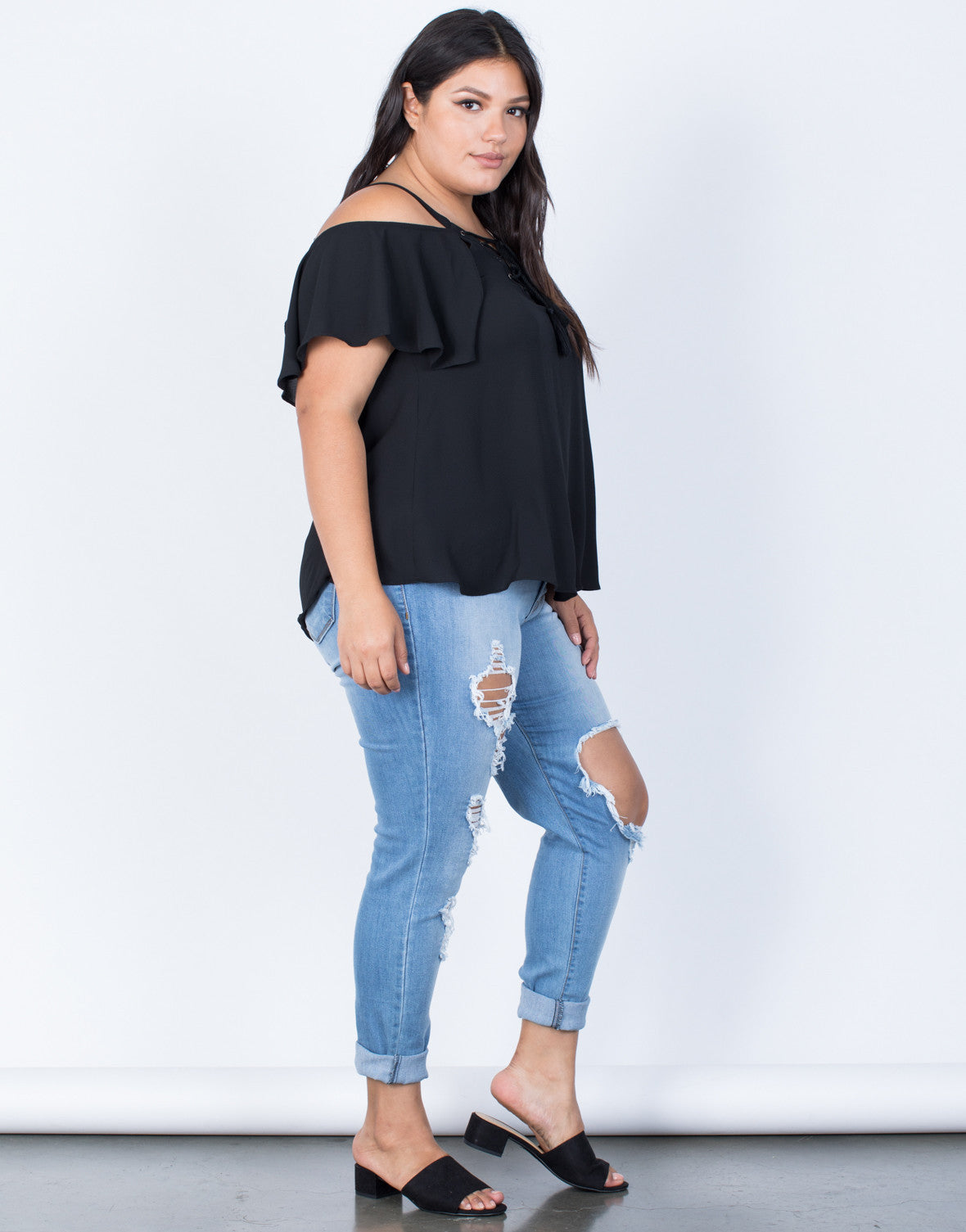 Black Plus Size Tassel Tied Top - Side View