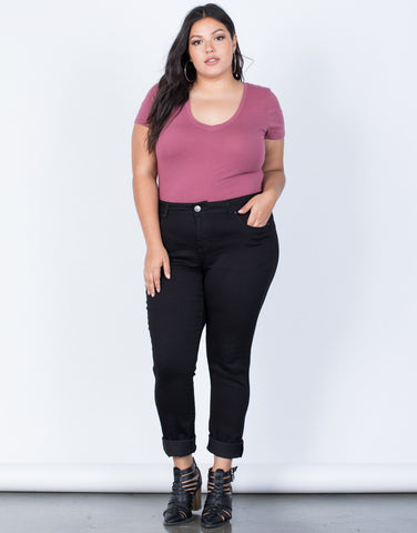 Black Plus Size The Everyday Pants - Front View