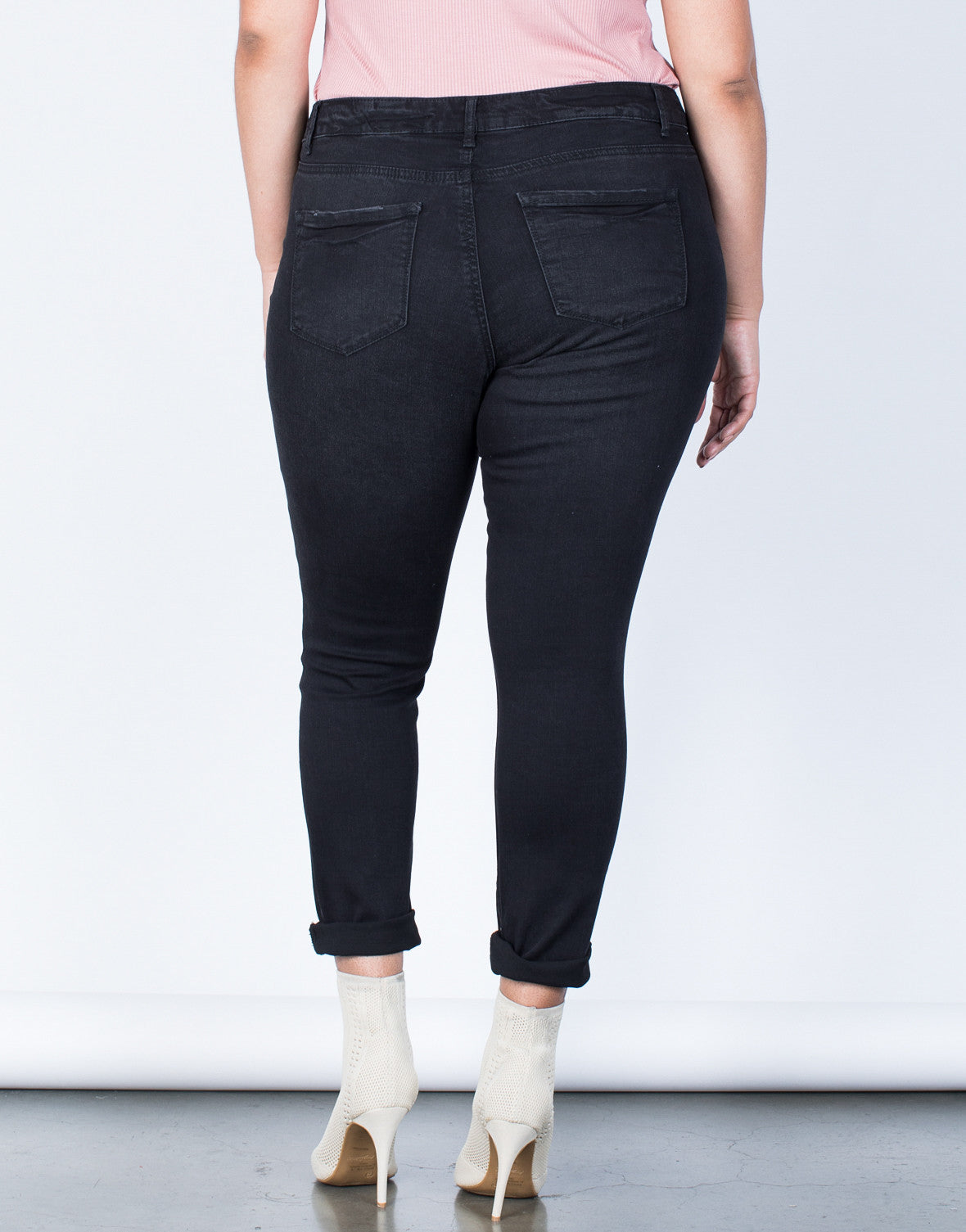 Back View of Plus Size The Slashed Skinny Jeans