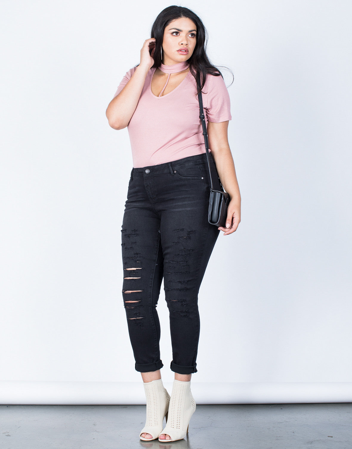 Front View of Plus Size The Slashed Skinny Jeans