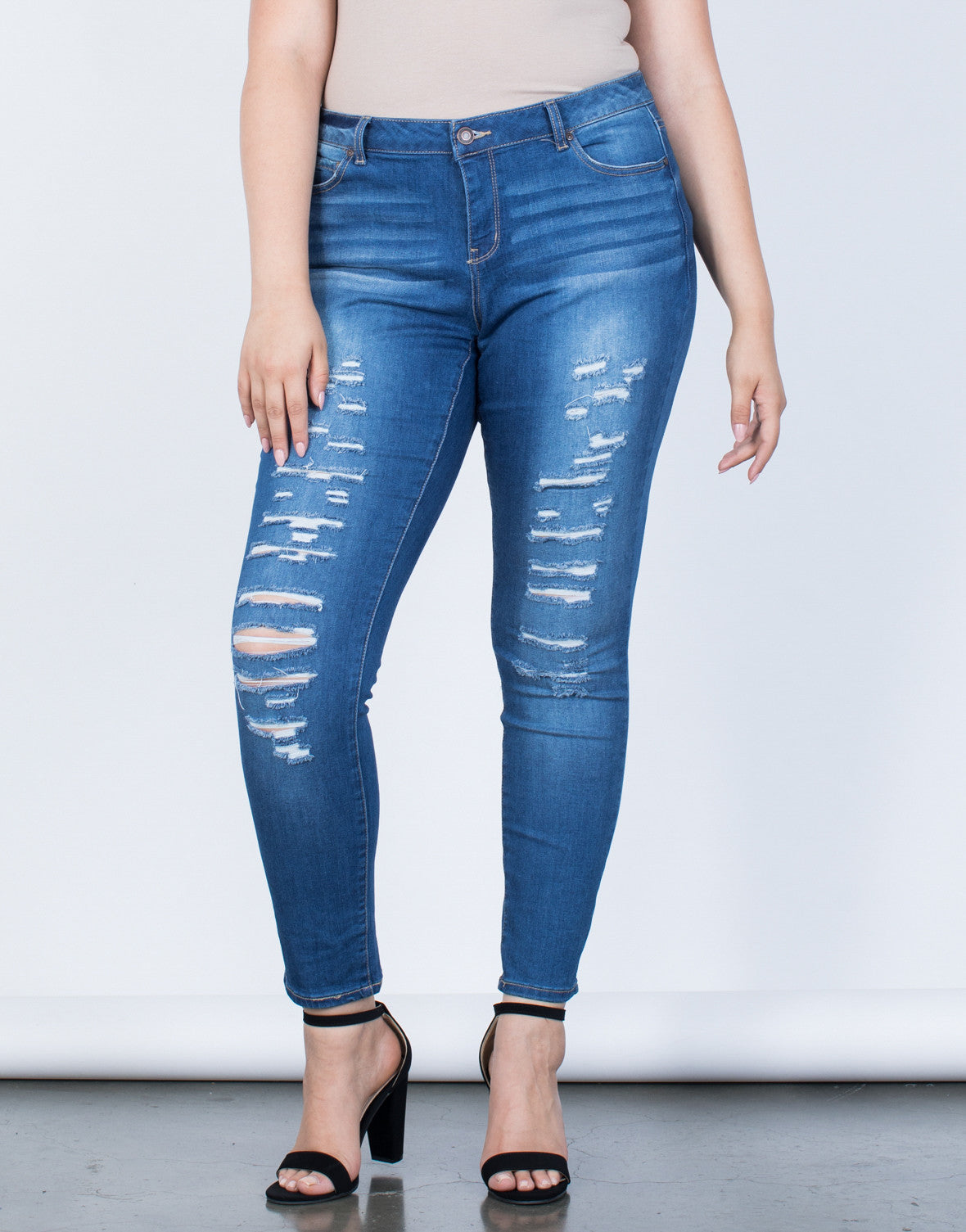 Plus Size The Slashed Skinny Jeans - 2020AVE