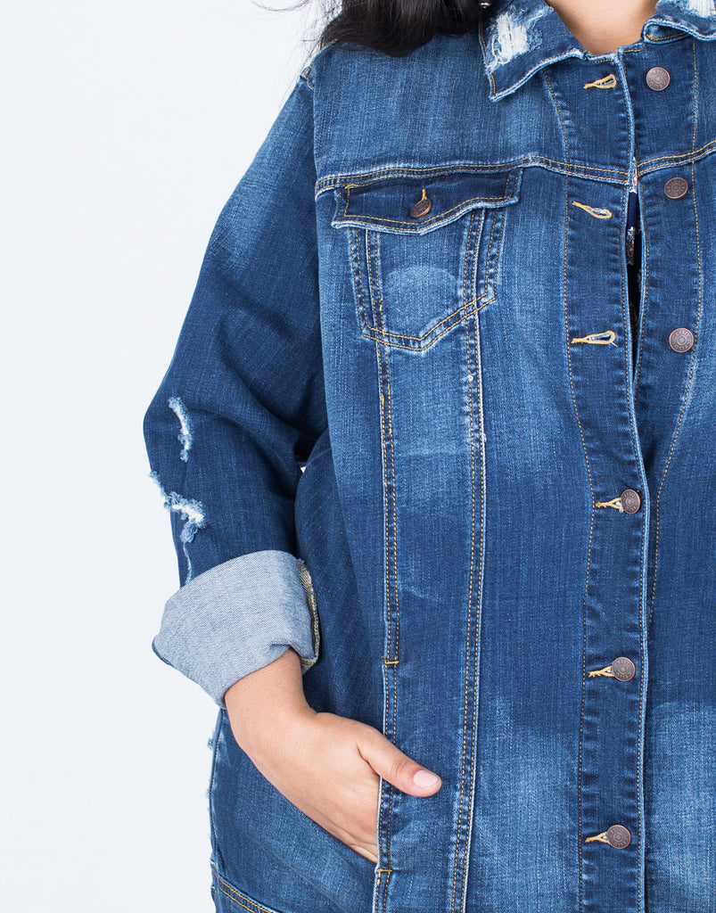 Detail of Plus Size The Staple Denim Jacket