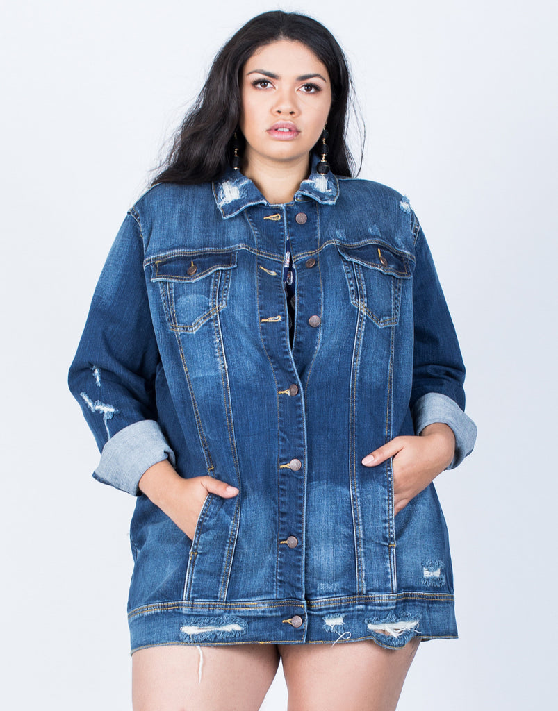 Front View of Plus Size The Staple Denim Jacket
