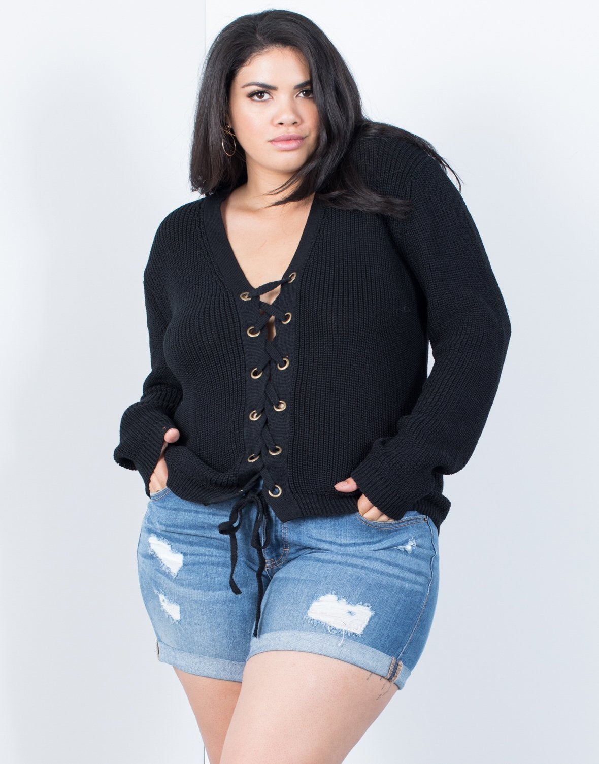 Plus Size Tied Together Knit Sweater - 2020AVE