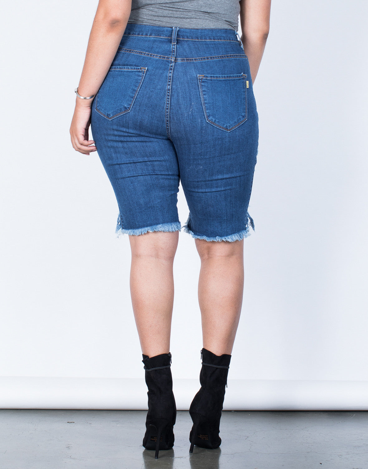 Back View of Plus Size Torn and Destroyed Bermuda Shorts