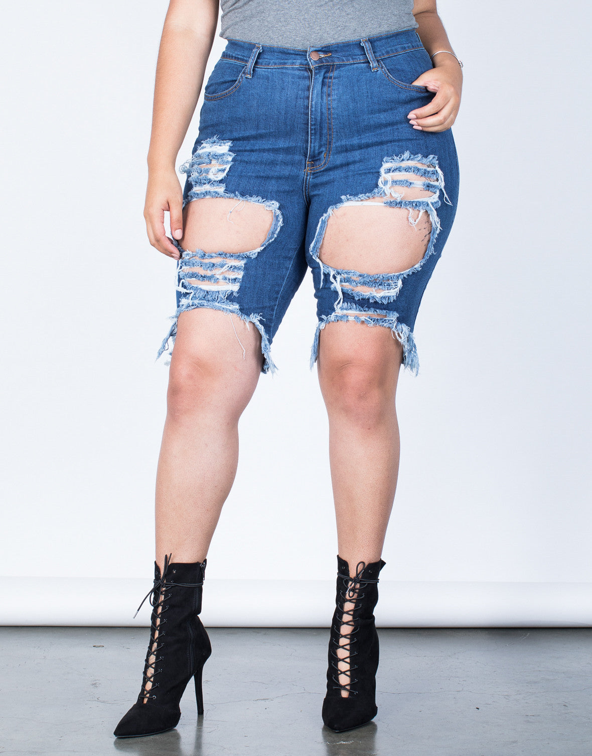 Front View of Plus Size Torn and Destroyed Bermuda Shorts
