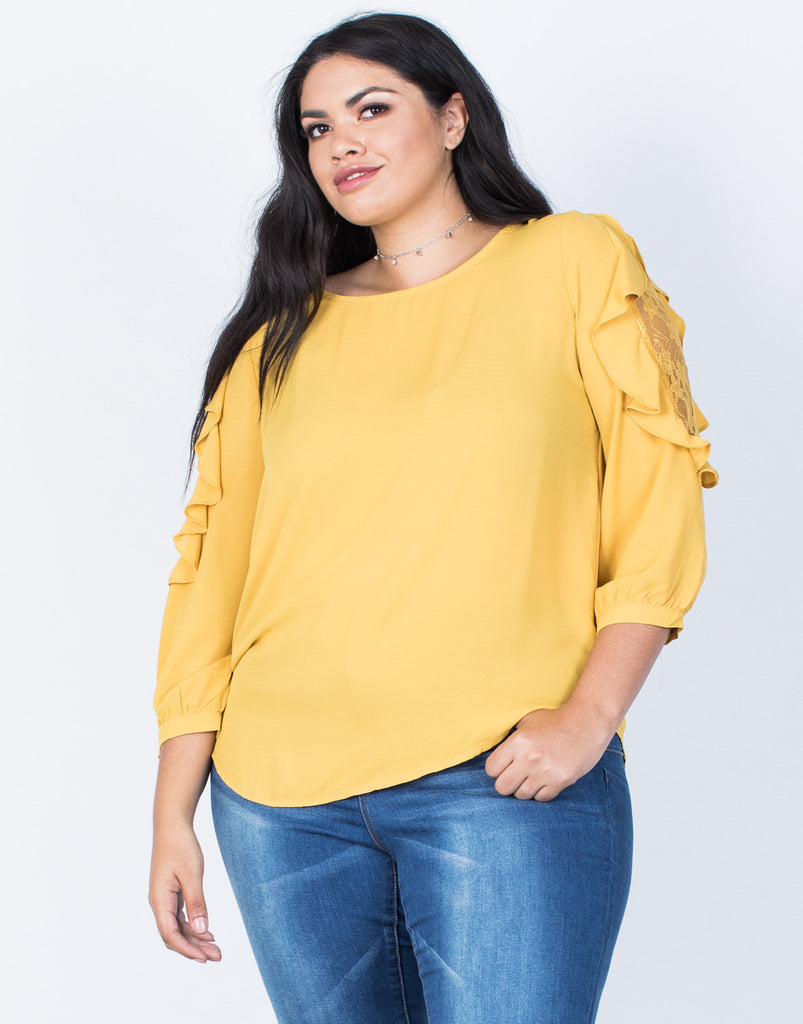 Front View of Plus Size Wavy Ruffled Blouse