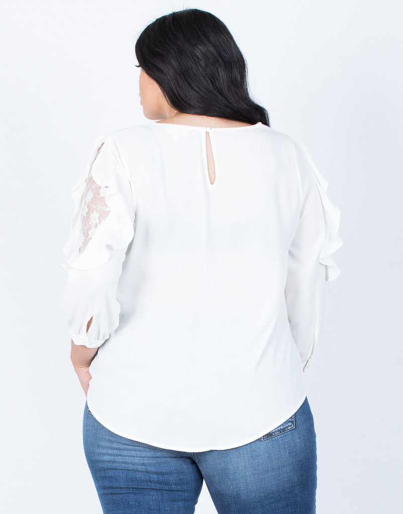 Back View of Plus Size Wavy Ruffled Blouse