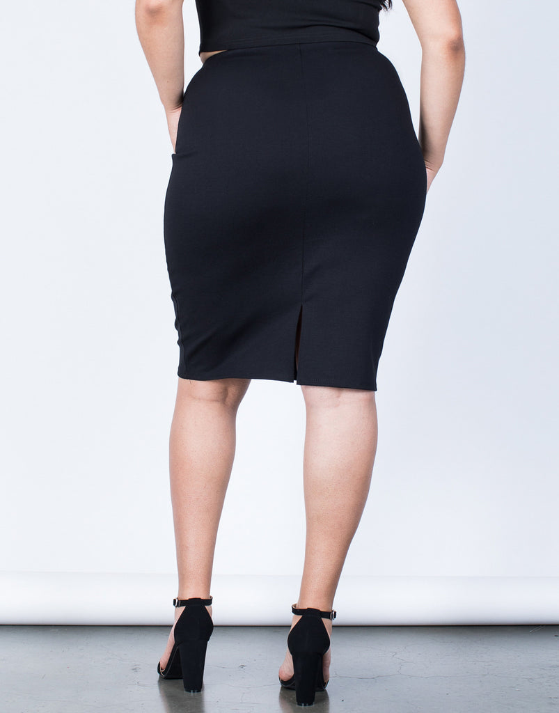 Back View of Plus Size Your Classic Bodycon Skirt