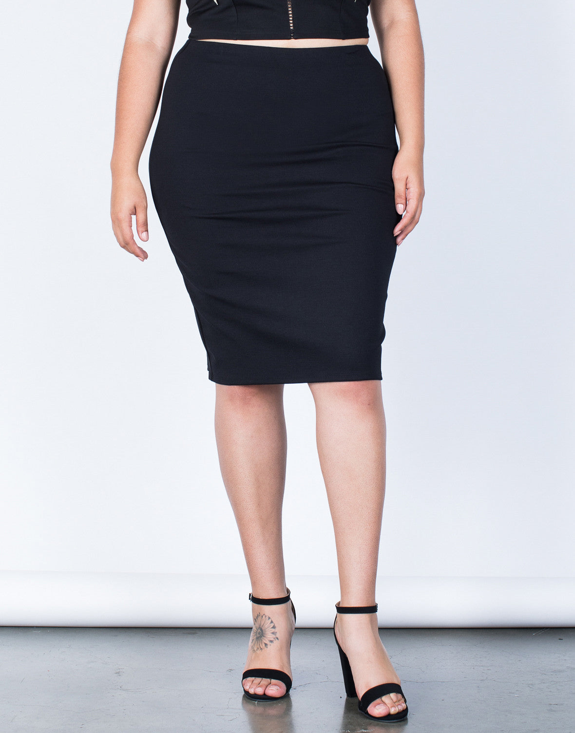 Front View of Plus Size Your Classic Bodycon Skirt