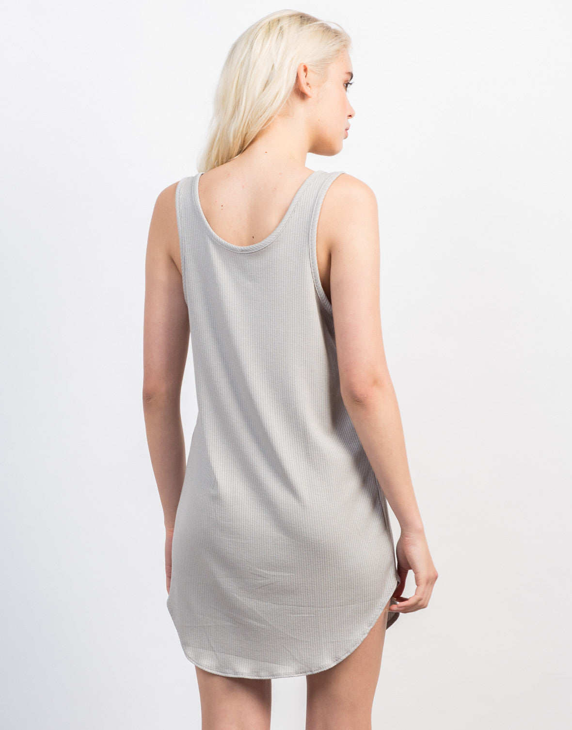 Back View of Pocket Ribbed Day Dress