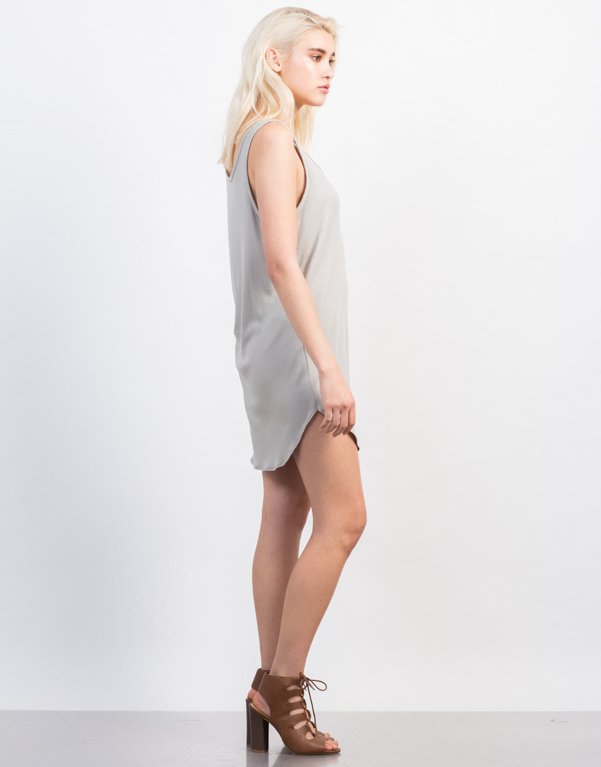 Side View of Pocket Ribbed Day Dress