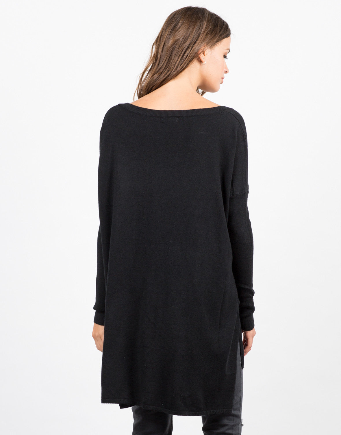 Back View of Pocket Sweater Top