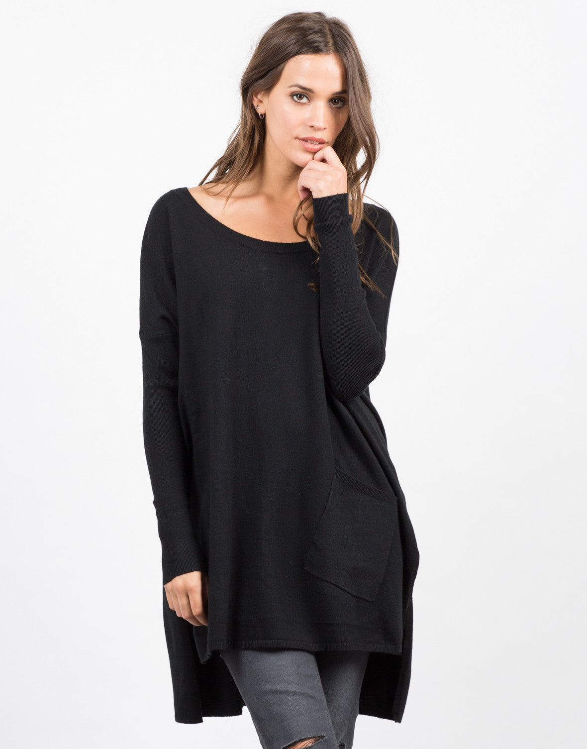 Front View of Pocket Sweater Top