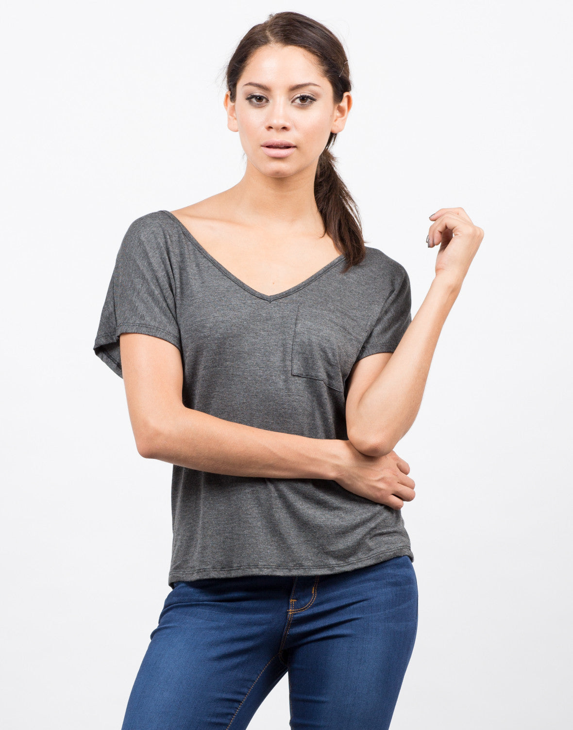 Front View of Pocket V-Neck Tee
