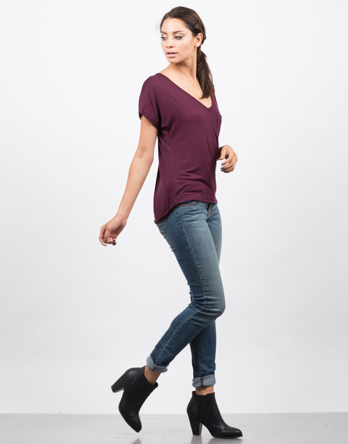 Side View of Pocket V-Neck Tee