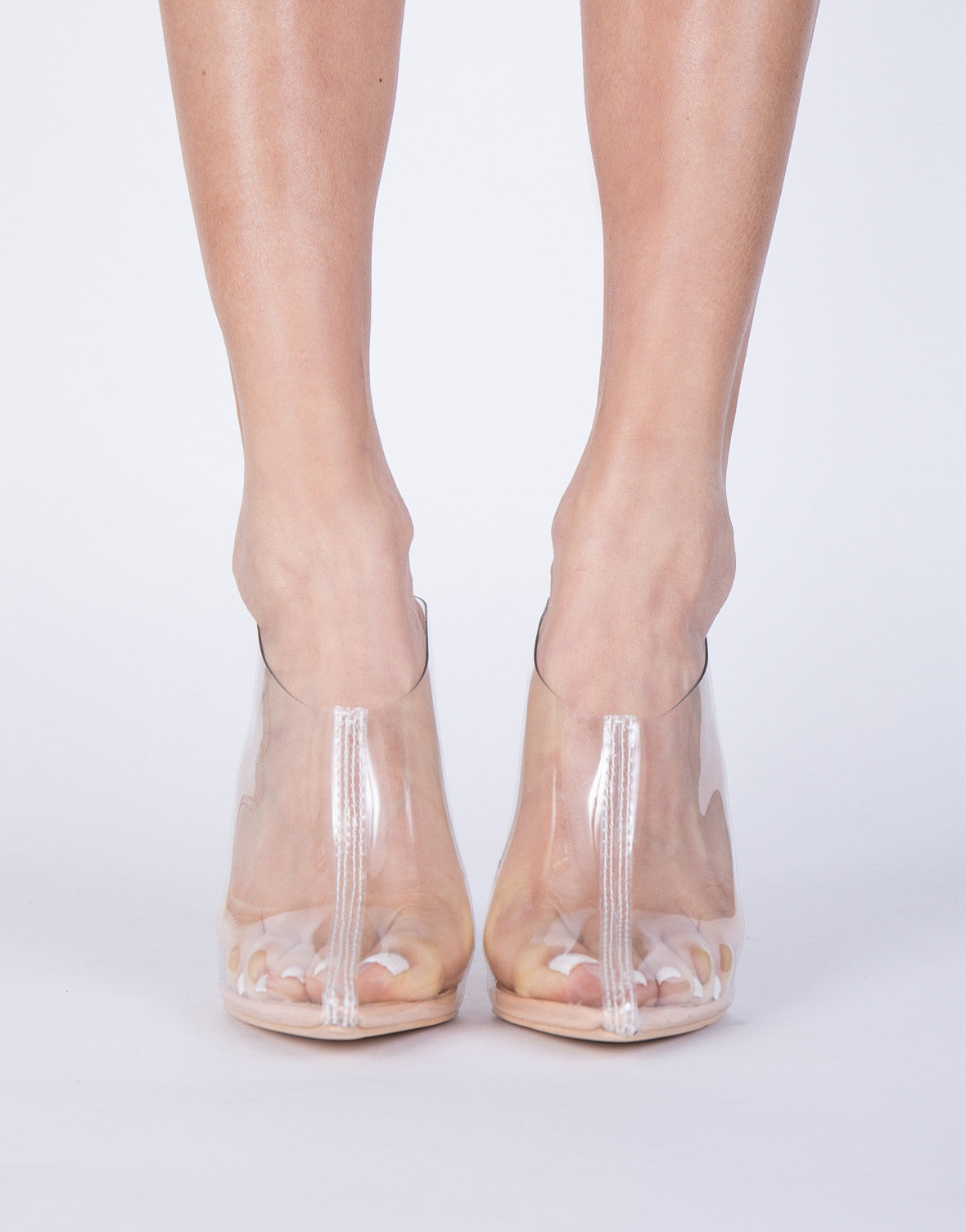 Point Clearly Heels - Clear Lucite Heels - Clear Mule Slide Heels ...