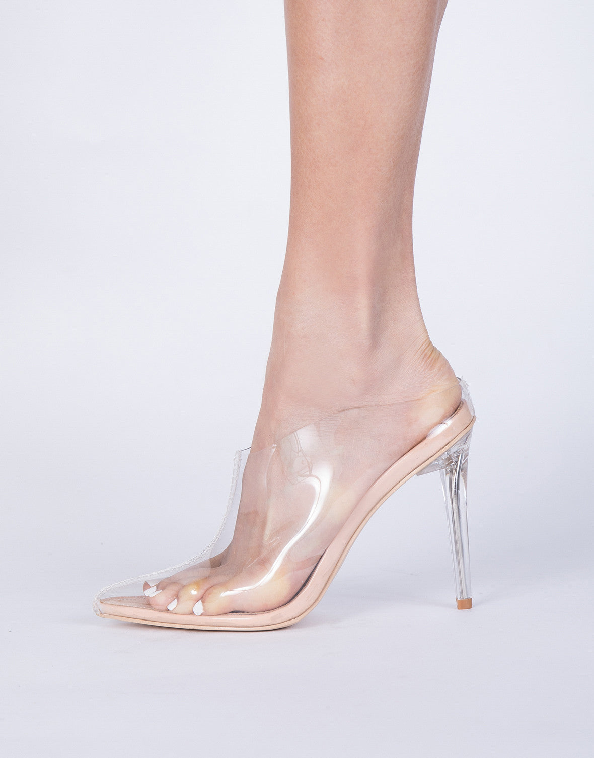 559b3106cb7c Point Clearly Heels - Clear Lucite Heels - Clear Mule Slide Heels ...