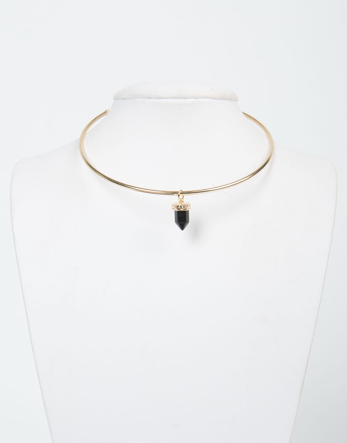 Front View of Pointed Jewel Collar Necklace