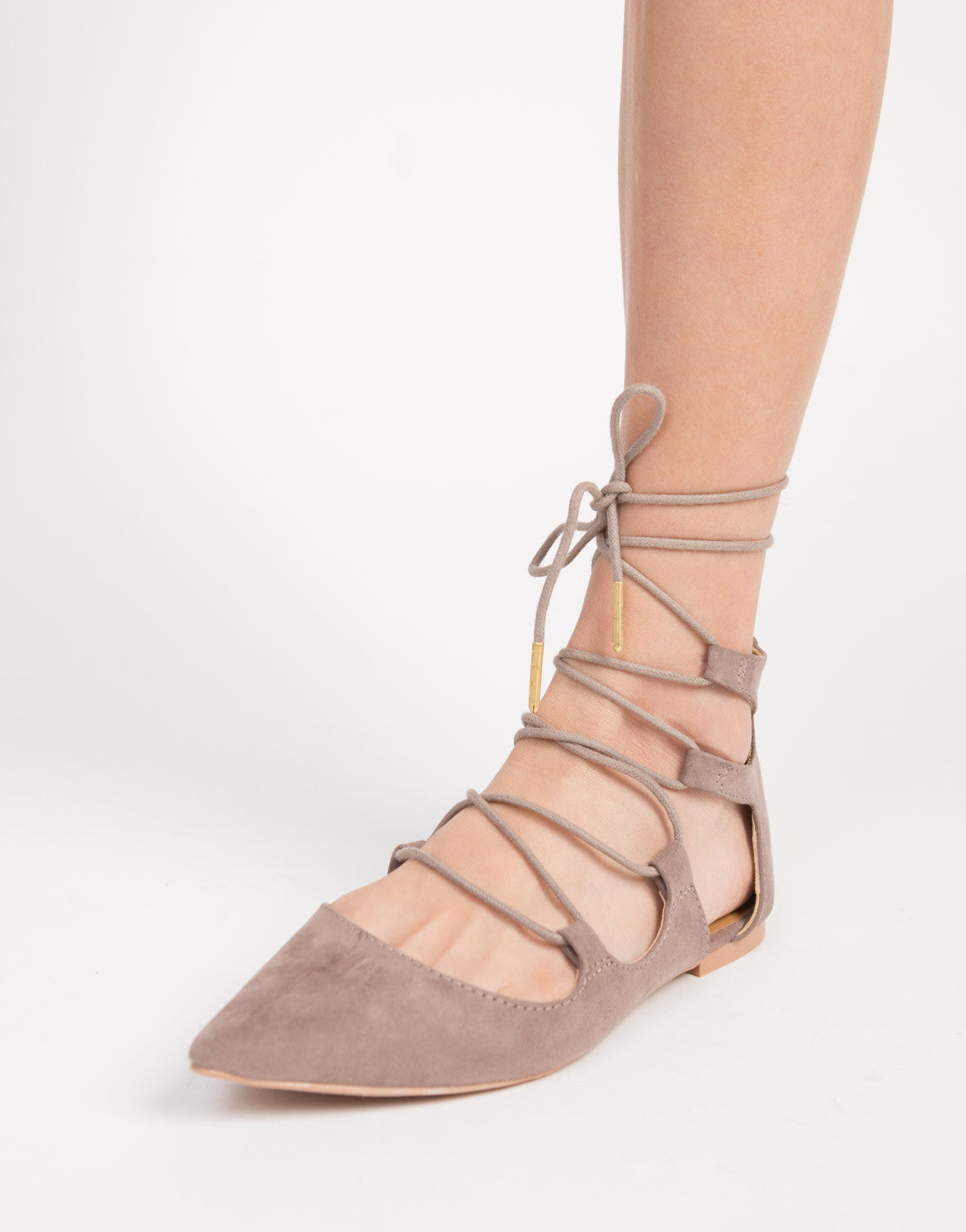 Pointy Lace-Up Flats - 2020AVE
