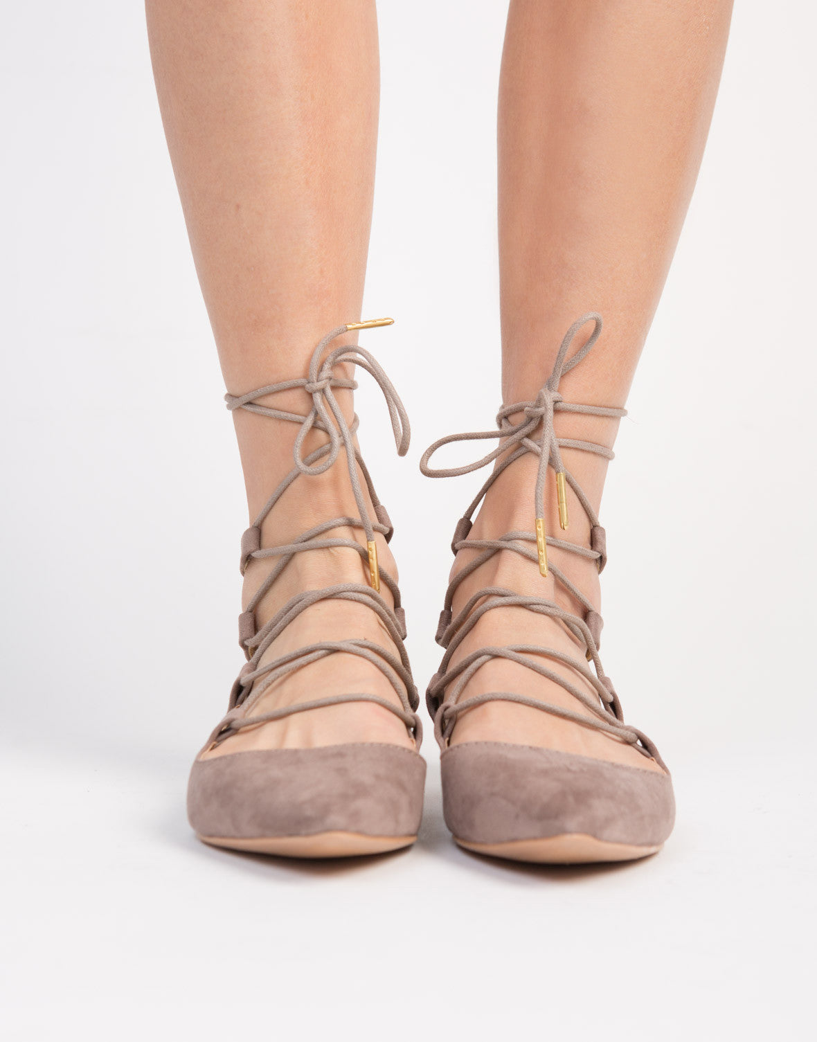 Pointy Lace-Up Flats - Lace Up